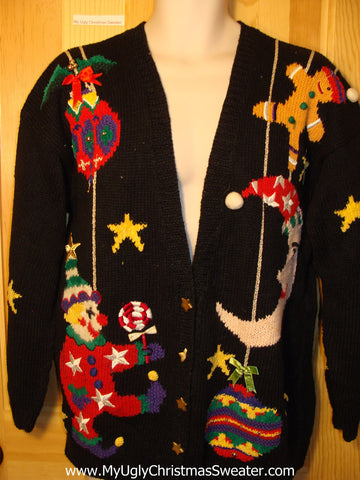 Tacky Ugly Christmas Sweater Scary Clown 80s 2sided Party Gem (f192)