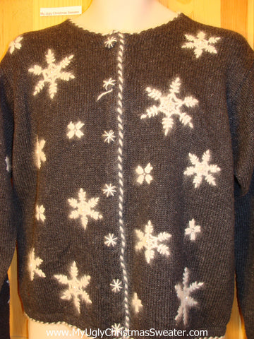 Christmas Sweater Jumper with Furry Snowflakes