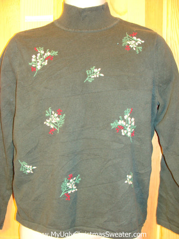 Tacky Cheap Green Christmas Sweater Jumper with Ivy