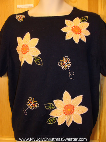 Tacky Cheap Ugly Sweater with Huge Flowers