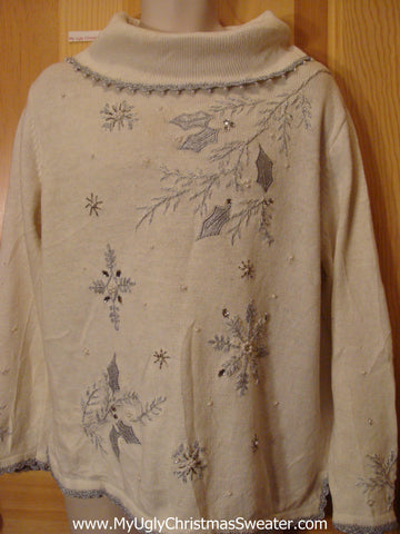 Tacky Cheap Ivory Christmas Sweater Jumper with Ivy