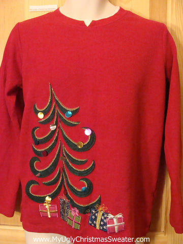 Red Christmas Sweater Jumper with Curly Cue Tree