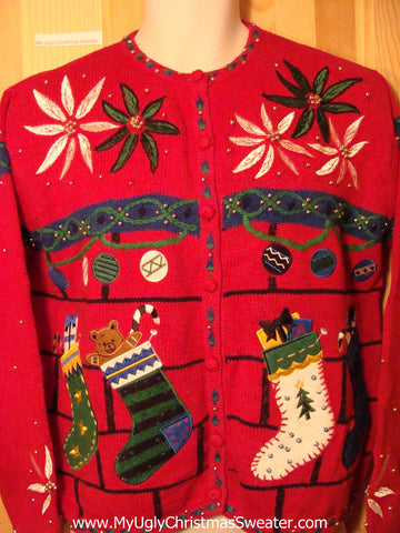 Tacky Red Ugly Christmas Sweater with Poinsettias and Stockings (f193)