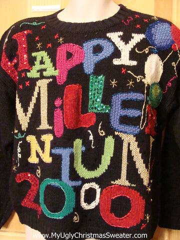 Happy New Years Holiday Sweater  2000