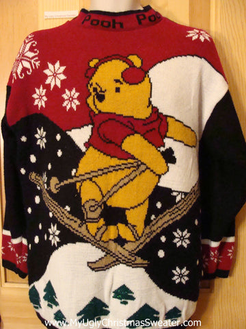 Winnie the Pooh Christmas Sweater Skiing 80s