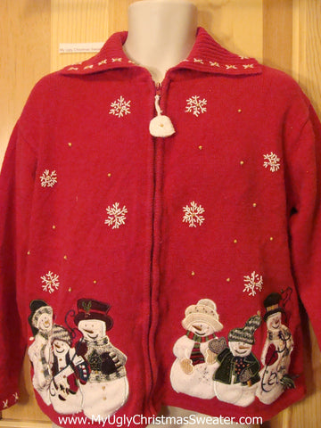 Christmas Sweater Red with Snowmen Families