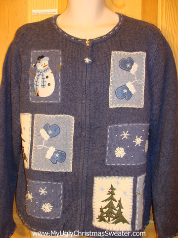 Christmas Sweater Blue with Crafty Snowmen