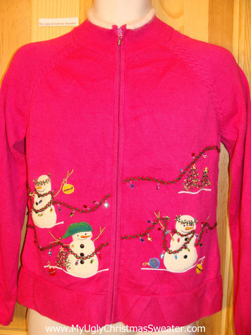 Pink Christmas Sweater Jumper with Bling and Snowmen