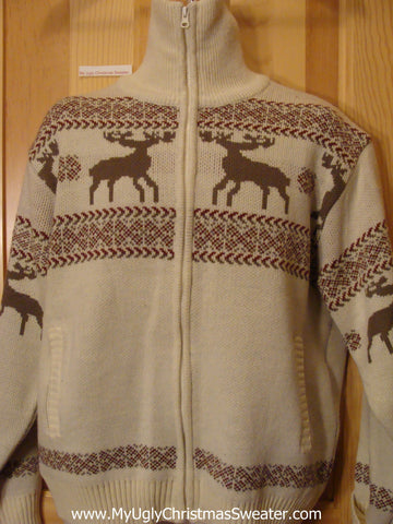 Christmas Sweater Vintage Reindeer Front and Back
