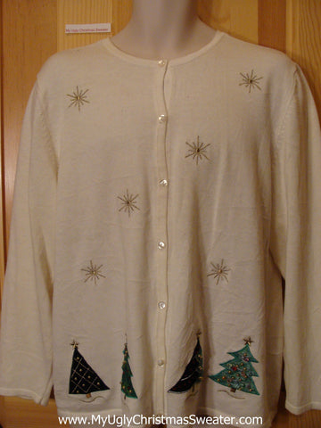 Tacky Cheap Christmas Sweater Jumper with Trees