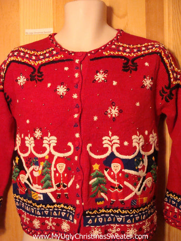 "Tacky Ugly Christmas Sweater ""Holy Grail of Ugly"" 80s Nordic Gem (f194)"