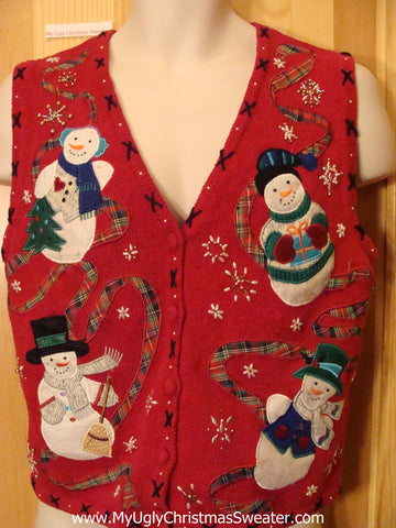 Red Christmas Sweater Vest with Snowmen 2sided