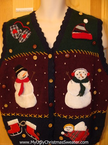 Christmas Sweater Vest with Plaid Themed Decorations