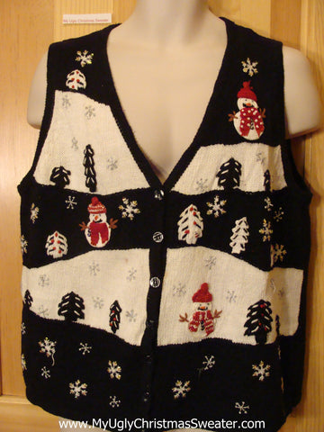 Christmas Sweater Vest Black and White with Snowmen
