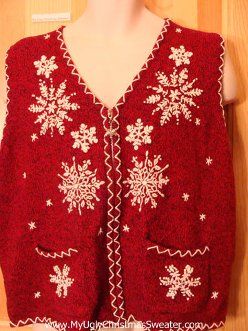 Tacky Cheap Red Christmas Sweater Vest with Snowflakes