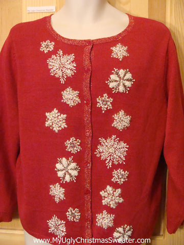 Tacky Cheap Christmas Sweater Red with Snowflakes