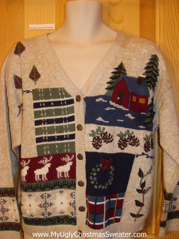Christmas Sweater Country Theme Cabin Reindeer