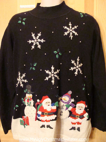 Christmas Sweater Jumper with Twin Santas and Snow