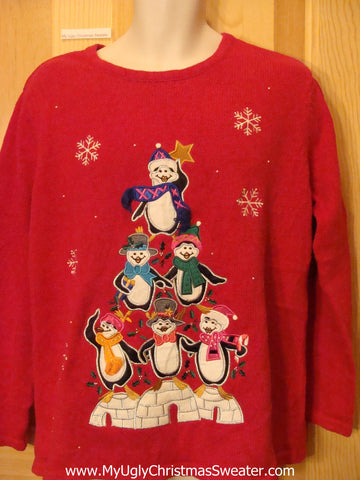 Penguin Pyramid Tree Red Christmas Sweater