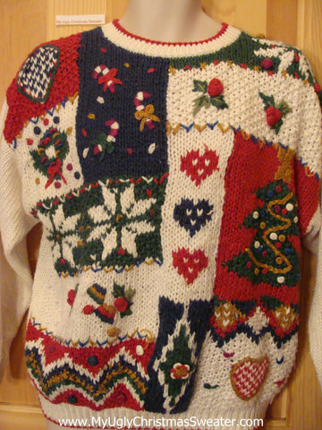 Christmas Sweater Jumper with Hearts, Snowflakes, Ivy