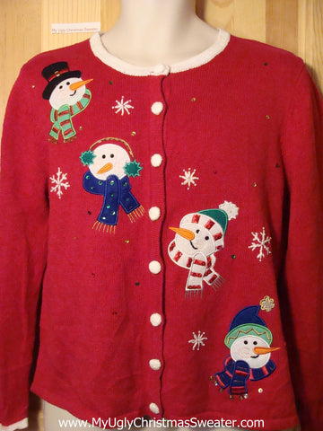 Tacky Ugly Christmas Sweater Perky Carrot Nosed Snowmen Heads (f196)