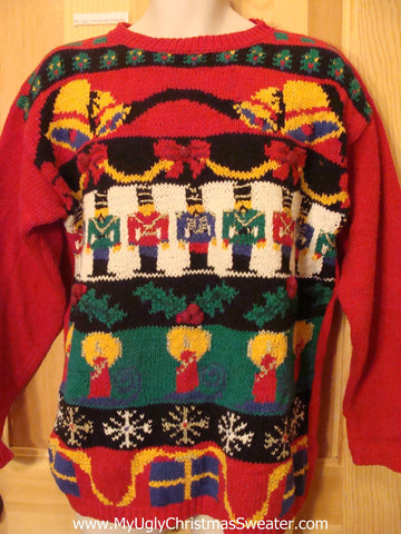 80s Christmas Sweater Jumper with Nutcrackers