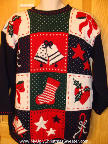 80s Christmas Sweater Grid Bells, Hearts, Stars