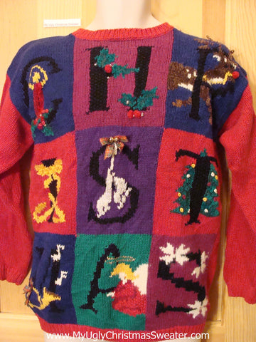 80s Christmas Sweater Retro Padded Shoulders
