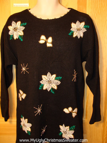 Tacky Ugly Christmas Sweater 80s Long Style with Bling and White Poinsettias (f197)