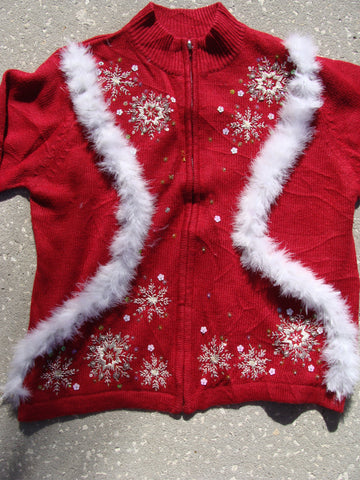 Tacky Cheap Red Christmas Sweater with Snowflakes
