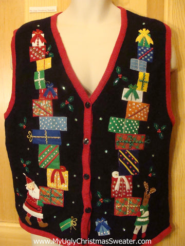Christmas Sweater Vest Santa Reindeer Tumbling Gifts