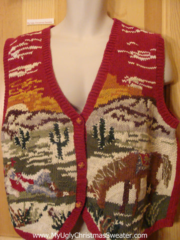 Cowboy with Horse Christmas Sweater Vest