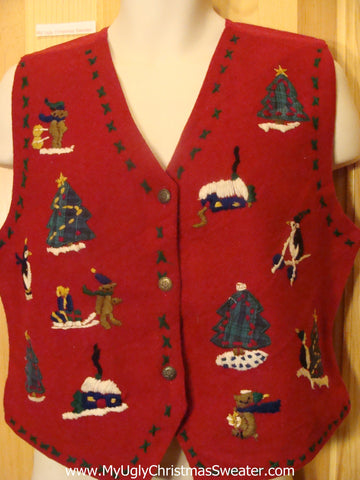 Red Christmas Sweater Vest with Penguins and Bears