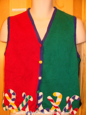 Christmas Sweater Vest with Candy Canes
