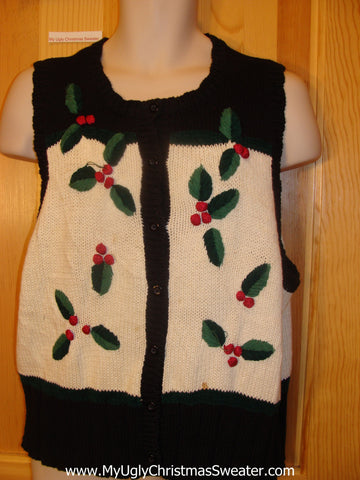 Tacky Cheap Christmas Sweater Vest with Ivy