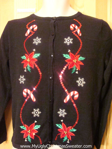 Christmas Sweater Cardigan with Bling Red Poinsettias