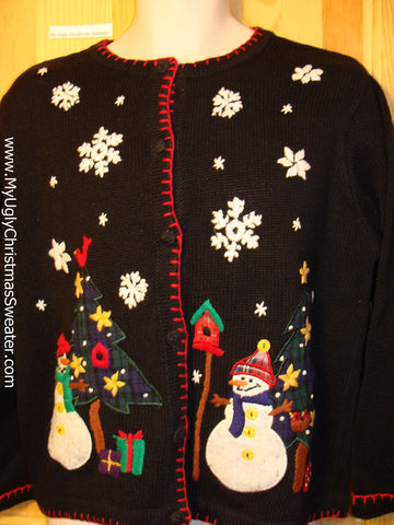 Tacky Ugly Christmas Sweater with Happy Festive Snowmen in a Winter Wonderland (f198)