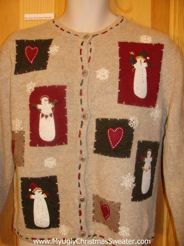 Christmas Sweater Jumper with Tall Skinny Snowmen