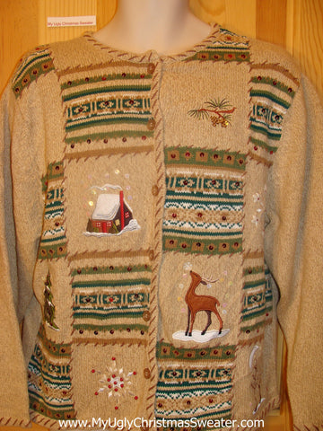 Christmas Sweater Jumper with Patchwork and Reindeer