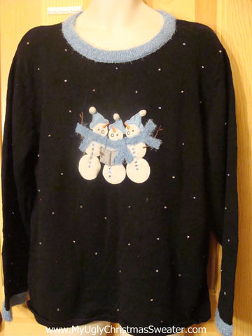 Christmas Sweater with Three Hugging Snowmen