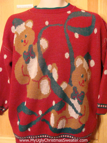 80s Corny Red Ugly Christmas Sweater with Bears