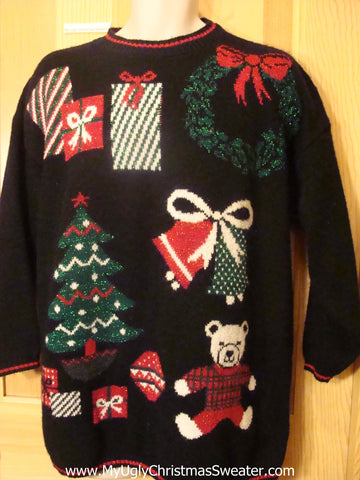 80s Ugly Christmas Sweater with Bear, Wreath, Tree