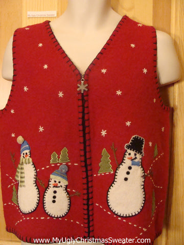 Cheesy Red Ugly Christmas Sweater Vest with Snowmen