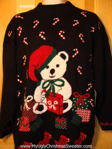 Tacky Ugly Christmas Sweater Vintage 80s Classic Santa Bear with Candy Canes (f200)