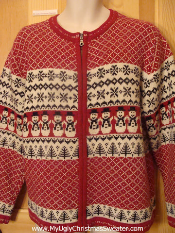Ugly Christmas Sweater Party Jumper with Two Sided Festive Snowmen