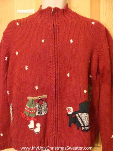 Red Festive Ugly Christmas Sweater with Skates, Skiis