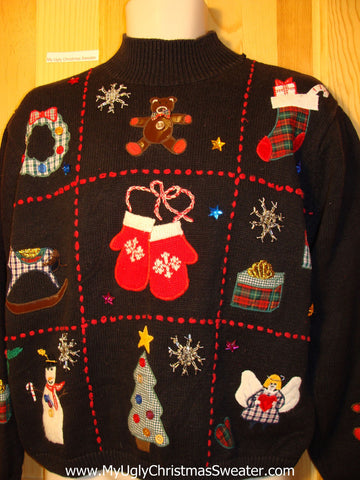 Tacky Ugly Christmas Sweater Grid Pattern with Bear, Horse, Angel, Mittens & More (f201)
