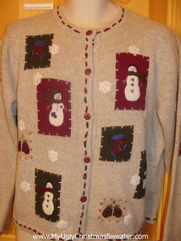 Ugly Christmas Sweater Party Jumper with Patchwork Snowmen