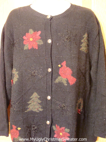 Ugly Christmas Sweater Poinsettias and Cardinals  XXXL