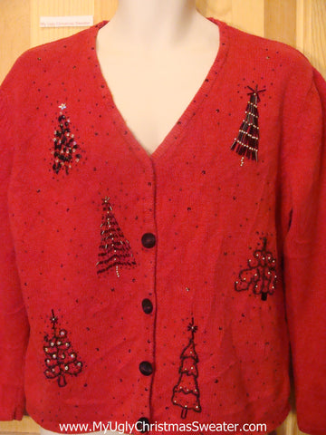 Ugly Christmas Sweater Party Jumper with Bling Trees